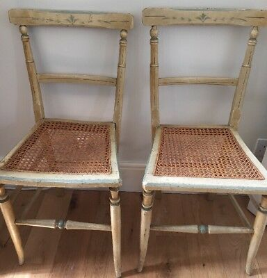 Pair Of Side Chairs Antique 20thC French Country Painted Wood Newly Caned Seats.