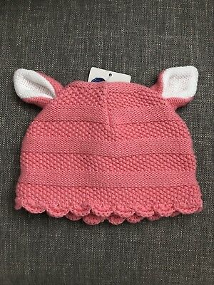 Baby Girl Beanie Hat Pink Knit With Ear *Brand New* 0-6 Months Newborn Higgledee