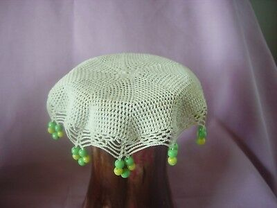 round handcrafted milk jug cover crochet green yellow glass beads