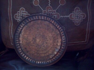 Old engraved copper plaque/charger/plate 12 inches across