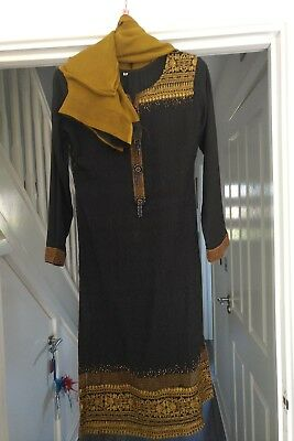 Black & Gold Embroidered Shalwar Kameez With Matching Scarf