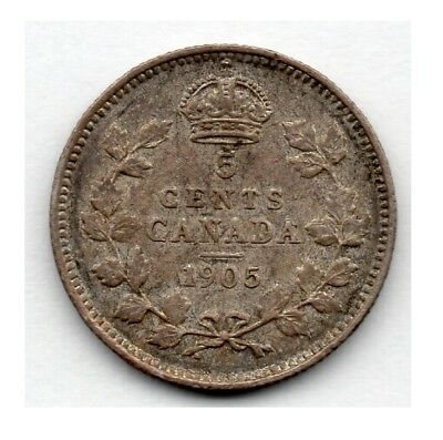 Canada 5 Cent 1905 (Nickel) (92.5% Silver) Coin