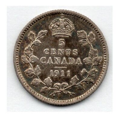 Canada 5 Cent 1911 (Nickel) (92.5% Silver) Coin