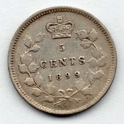 Canada 5 Cent 1899 (Nickel) (92.5% Silver) Coin