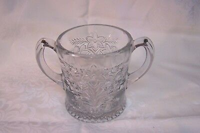 Antique Large Pressed Glass Two-Handled Spooner