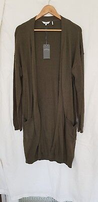 Fatface Olive Green Long line Cardigan Brand New size16