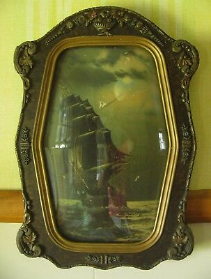 Antique Unusual Shape Gesso Wood Picture Frame Convex Curved Glass
