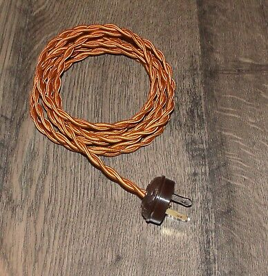 COPPER ~ 8' Vintage Twisted Cloth Covered Lamp Cord w/ Acorn Plug ~ by PLD