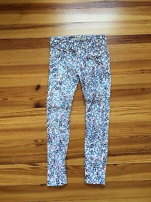 Toddler Girls Floral White Pants (size 7)