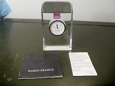 Heavy Simon Pearce Clear Glass Clock - MINT w/ Papers - Item 3932