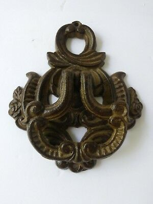 Vintage Ornate Brass Pierced Metal Door Knocker Brown Heavy