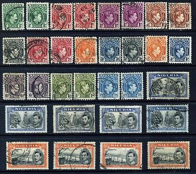 NIGERIA 1938-51 KGVI: 31 USED TO 5s SG49- 59c MOST LISTED SHADES/ PERFORATIONS