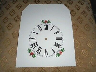 "Steeple Paper Clock Dial- 4 1/4"" M/T -Roman-Floral -  White - Face /Clock Parts"