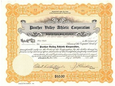 Panther Valley Athletic Corporation. Stock Certificate. Pennsylvania
