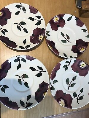 Four Emma Bridgewater Hellebore By Mary Fedden Saucers 2Nd Quality Old Backstamp
