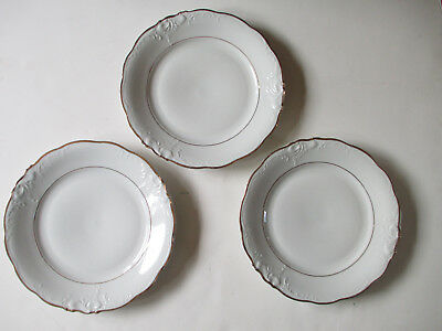 3 vintage Walbrzych china large dinner plates, gold rim, made in Poland, set