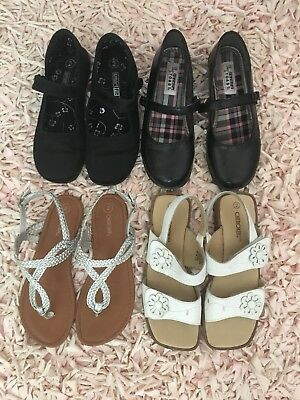 Lot Of Youth Girls Dress Shoes And Sandals Size 2. Preowned VGUC