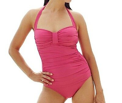 387eee2cce TOMMY BAHAMA PEARL Solids Ruched Halter One-Piece Swimsuit, Bright Pink, Sz.  6 - $64.00 | PicClick