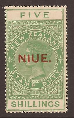 NIUE 1918-29 SG35 5/- yellow-green MM 2 Scans toned back (JB4546)