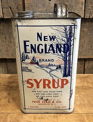 RARE Vintage Original NEW ENGLAND Brand Syrup Fred Fear & Co. 1 Gallon Tin Can
