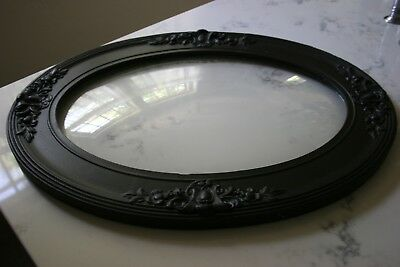"""ANTIQUE VICTORIAN CONVEX BUBBLE GLASS and FRAME ORNATE OVAL 25"""" X 19"""""""
