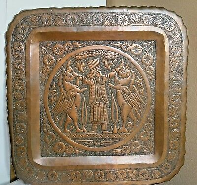 """Vintage Middle East Heavy Copper Hand Etched Tray 14 1/4"""""""