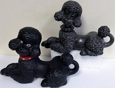 Two Adorable Vintage Atlantic Mold Poodles Black and Dark Gray with Collars
