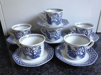 vintage Royal Staffordshire J+G Meakin  liberty Willow 6x Tea cups & saucers