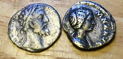 Lot Of 2 Ancient Roman Silver Coins. Denarius~Septimius Severus/Julia Domna