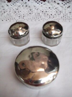 Ant. Silver Powder Compact & 2 Silver Topped R U & Co.Glass Perfume/Lotion Pots