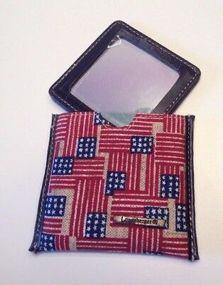 Longaberger Old Glory Mirror In Case Patriotic Fabric Flags NEW Purse Accessory