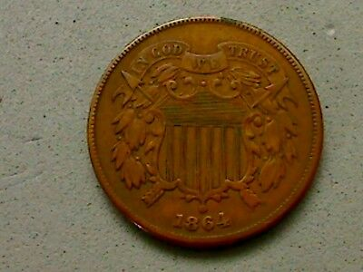 1864 US Shield 2 Cents, Large Motto, KM#94