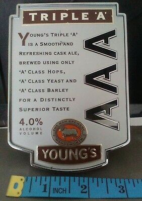 YOUNGS TRIPLE 'A'  AAA Plastic Beer Pump Clip Badge Colectable
