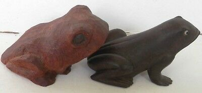 lot of 2- Wooden Frog Figurines #1- Hand Carved Signed W.S. #2 Smooth & Shinny