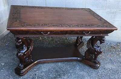 R. J. Horner Carved Mahogany Winged Griffin Partners Desk/library Table