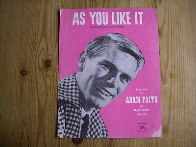 As You Like It, Adam Faith vintage sheet music.