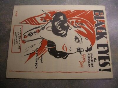 "Vintage sheet music, ""Black Eyes"""
