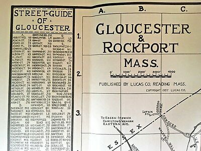 GLOUCESTER MA & ROCKPORT MA 1937  Street Map w Dog Town, Pigeon Cove, Beaches