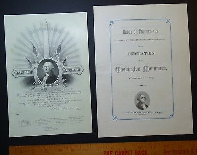 RARE Orig George Washington Monument Dedication Invitation & Program 1885 D.C.