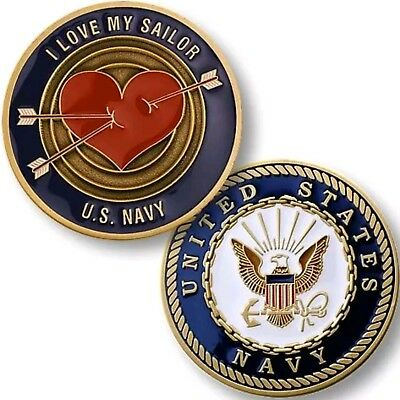 """US Navy USN """"I LOVE MY SAILOR"""" Challenge Coin Spouse Fiance Valentine Heart"""
