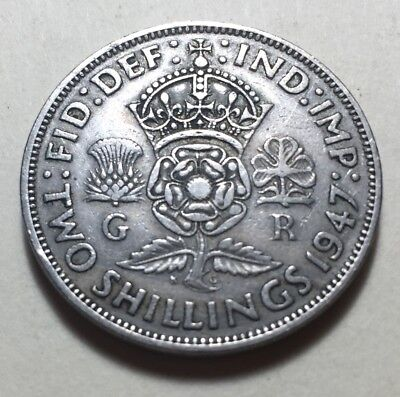 Great Britain (UK) 1947 Two Shillings (Florin) Coin - King George VI