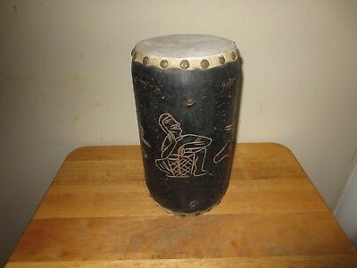 """Vintage 10"""" Tall Wooden Bongo Drum Double Sided Hand Carved Etched Decor"""