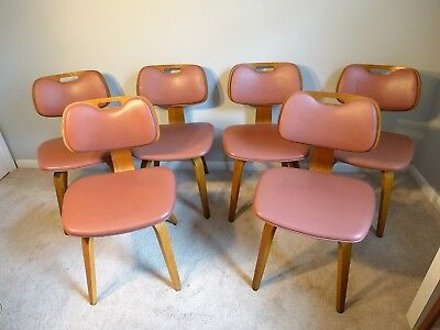 Admirable 6 Rose Pink Thonet Mid Century Modern Bent Wood Chairs Dailytribune Chair Design For Home Dailytribuneorg