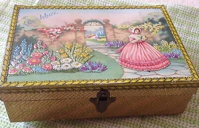 Vintage Sewing Box Tin Crinoline Lady Workbox Cottons Buttons 1930's 40's