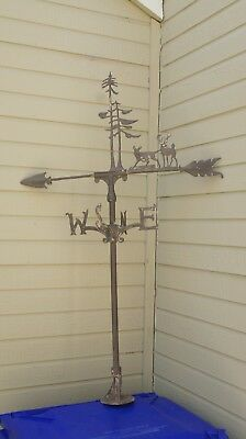 Vintage Antique Weathervane Pointers With Deer and Trees