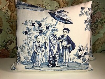 "Set Of 2, Acquitaine ""Looking Glass"" Chinoiserie Cream Blue Linen Pillows"
