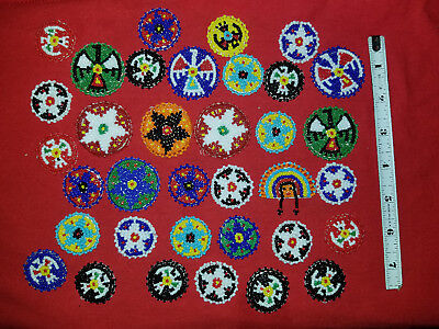 Big Lot Of Thirty Five Seed Beaded Medallions , Crafts, Jewelry,Regalia
