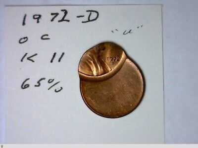 1972-D Off-Center Lincoln Cent 65% at K11