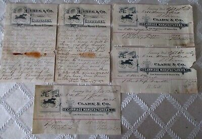 1883- Clark & Co Carriages Wagons- Ephemera Paper-Collection-Lansing,mich