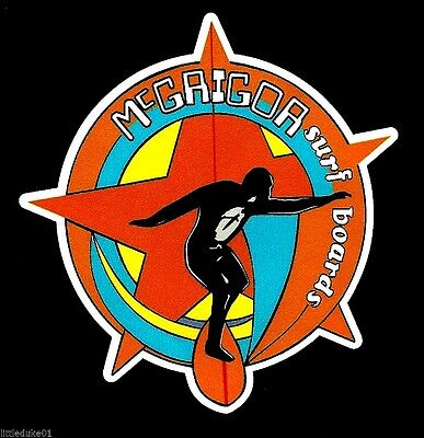 """MCGRIGOR SURFBOARDS"" VINTAGE / RETRO Sticker Decal 1970s LONGBOARD SURFER SURF"